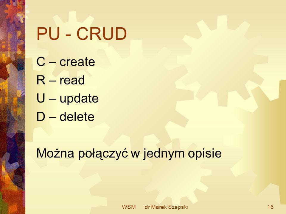 PU - CRUD C – create R – read U – update D – delete