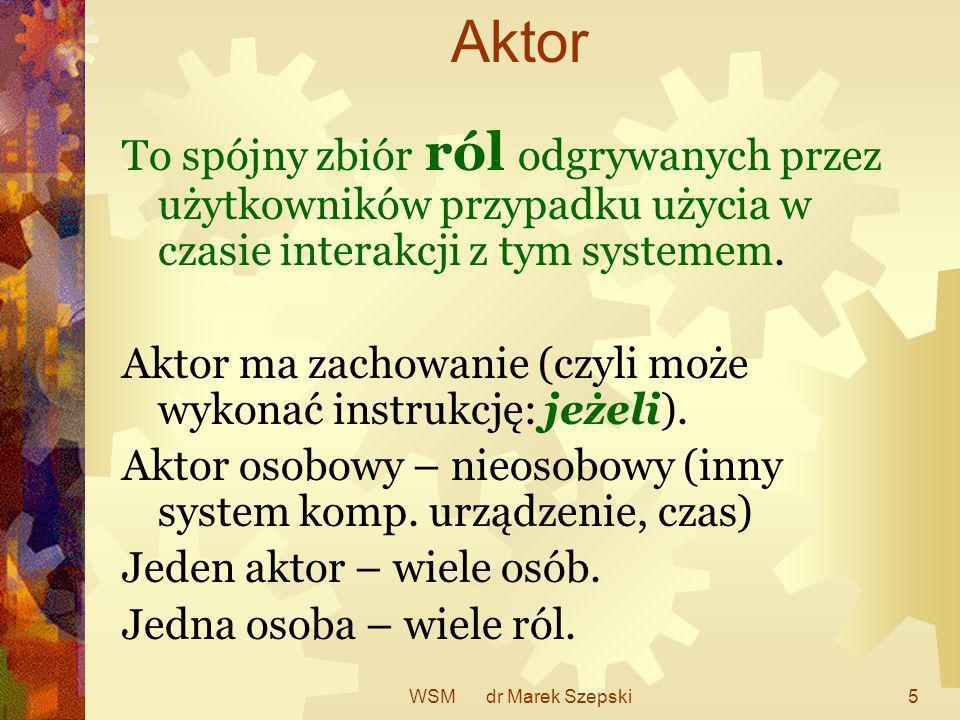 AktorTo spójny zbiór ról odgrywanych przez użytkowników przypadku użycia w czasie interakcji z tym systemem.