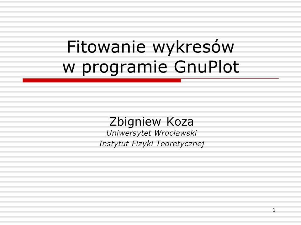 Fitowanie wykresów w programie GnuPlot