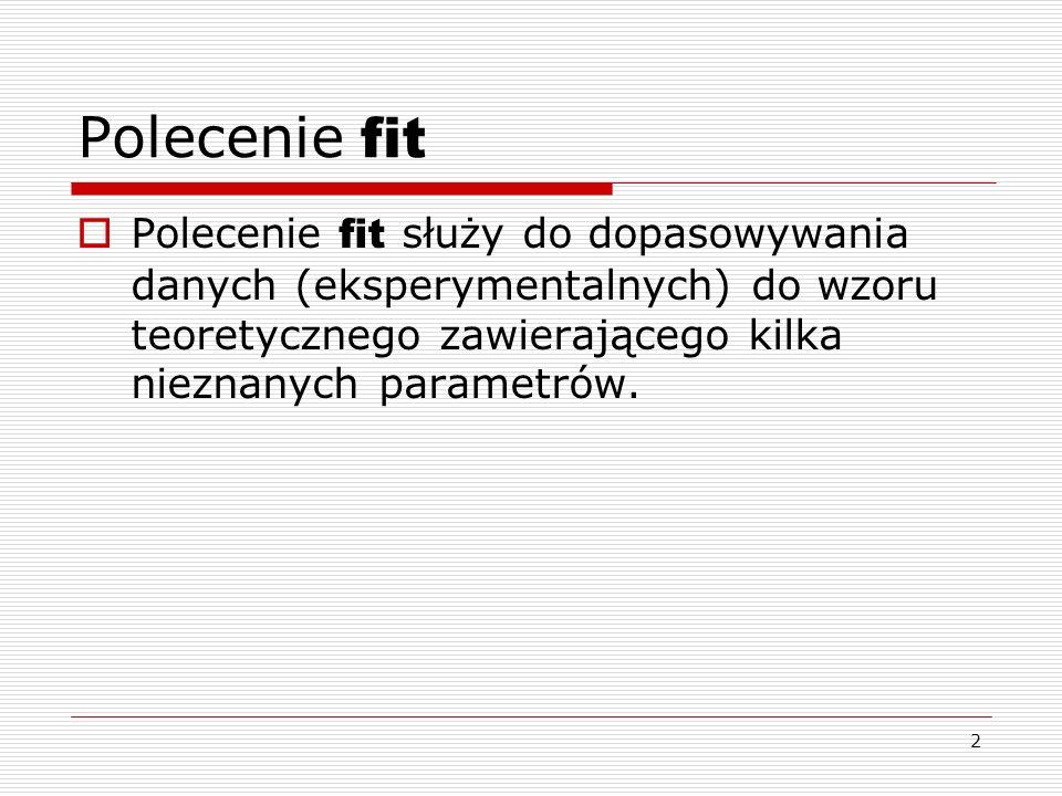 Polecenie fit Polecenie fit służy do dopasowywania danych (eksperymentalnych) do wzoru teoretycznego zawierającego kilka nieznanych parametrów.