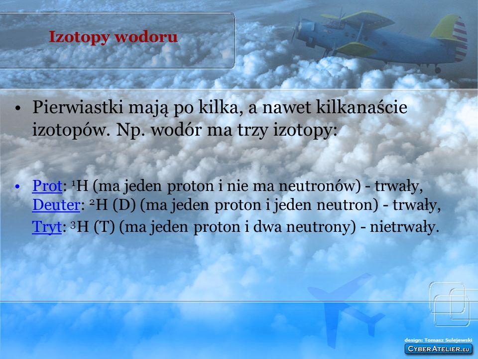 Izotopy wodoru Pierwiastki mają po kilka, a nawet kilkanaście izotopów. Np. wodór ma trzy izotopy: