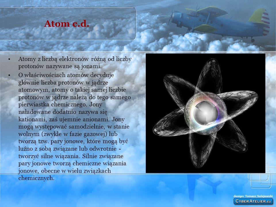 Atom c.d. Atomy z liczbą elektronów różną od liczby protonów nazywane są jonami.