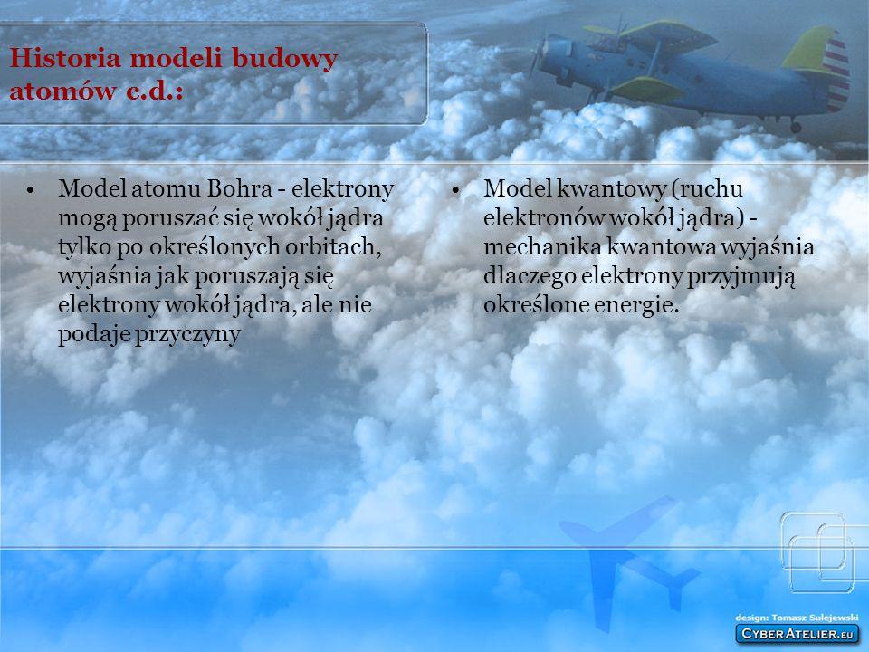 Historia modeli budowy atomów c.d.: