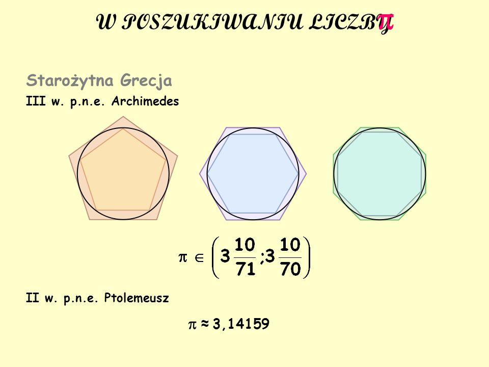 p W POSZUKIWANIU LICZBY Starożytna Grecja p ≈ 3,14159