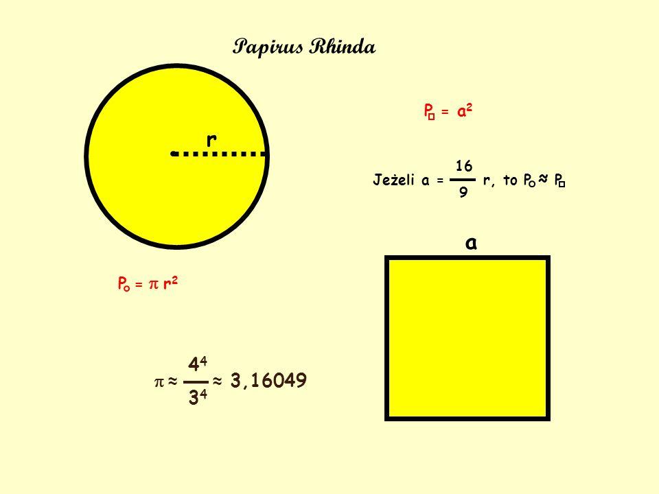 Papirus Rhinda r a 44 34 p ≈ P = a2 P = p r2 ≈ 3,16049 16 9
