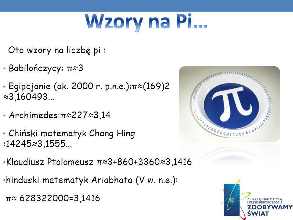 Wzory na Pi… Oto wzory na liczbę pi : Babilończycy: π≈3