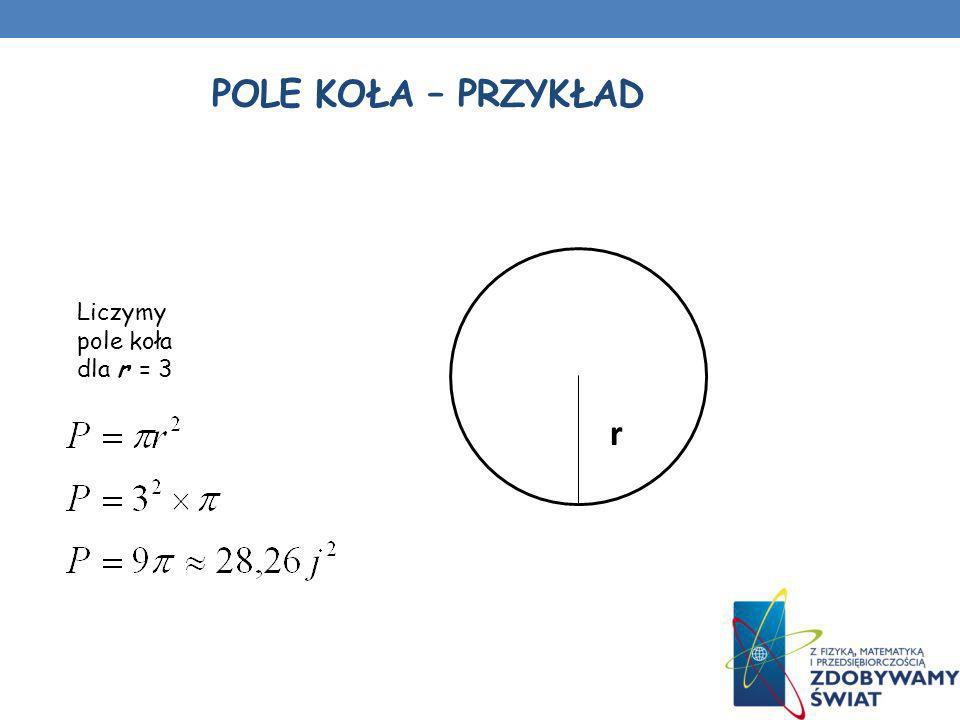 Pole koła – przykład Liczymy pole koła dla r = 3 r