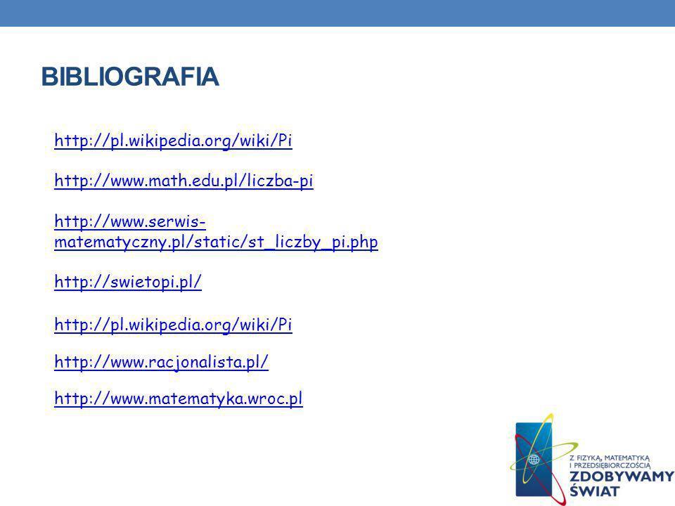 Bibliografia http://pl.wikipedia.org/wiki/Pi