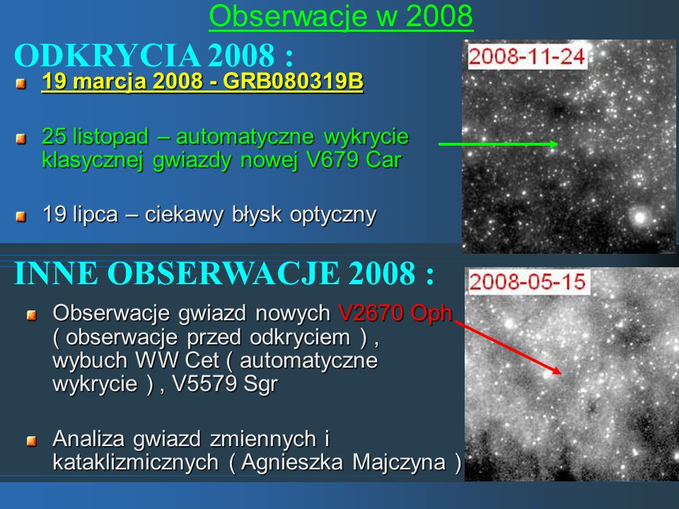 ODKRYCIA 2008 : INNE OBSERWACJE 2008 : Obserwacje w 2008