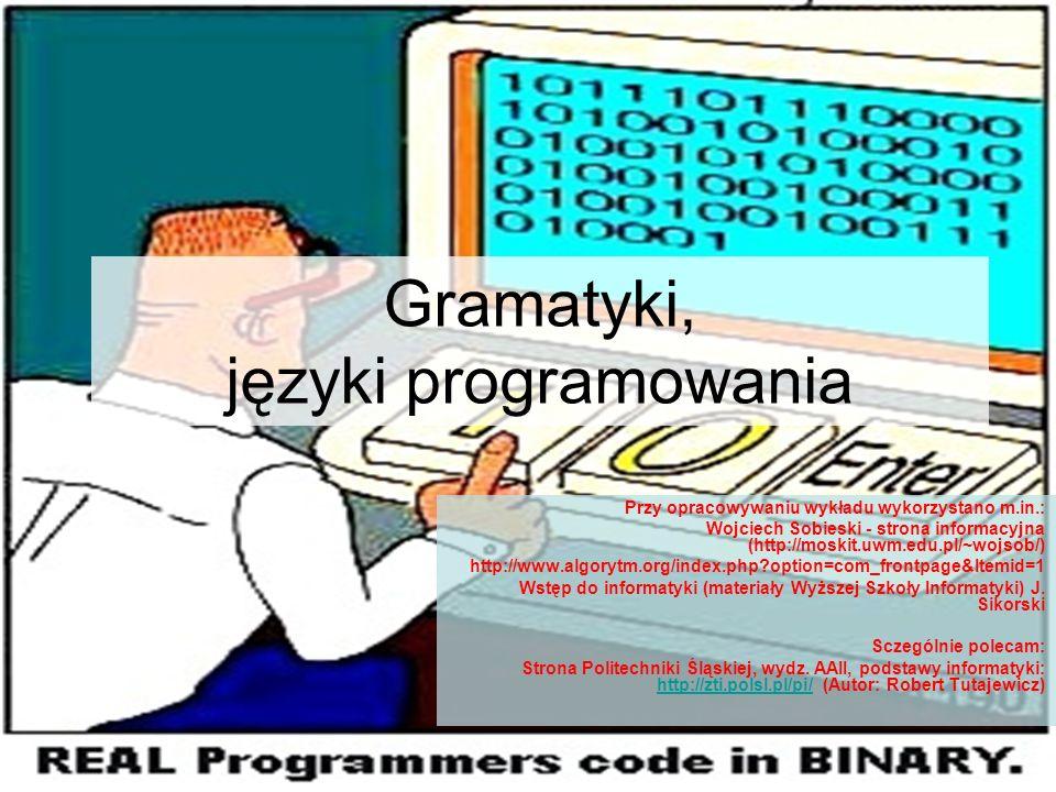 Gramatyki, języki programowania