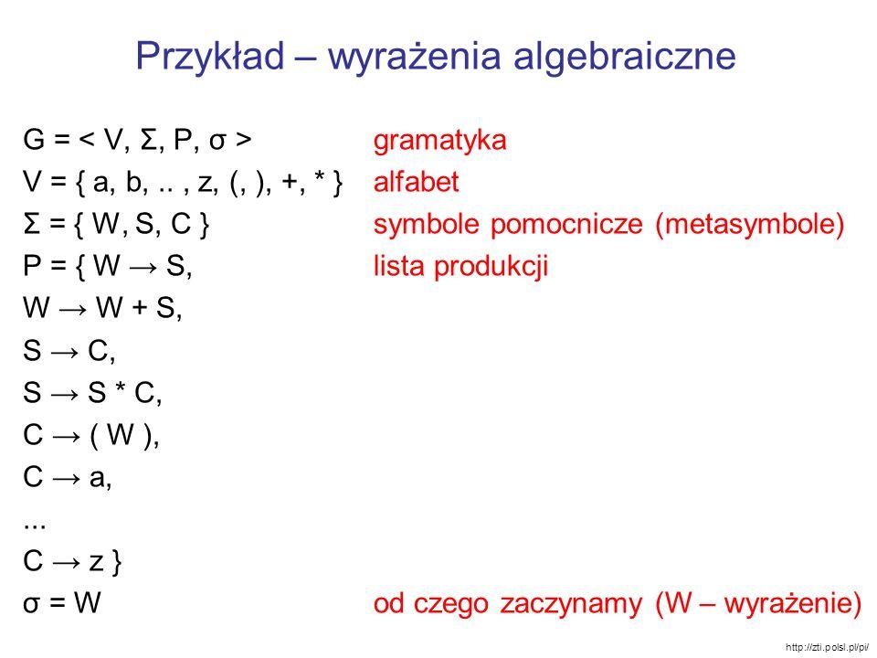 Przykład – wyrażenia algebraiczne