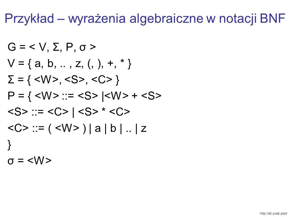 Przykład – wyrażenia algebraiczne w notacji BNF