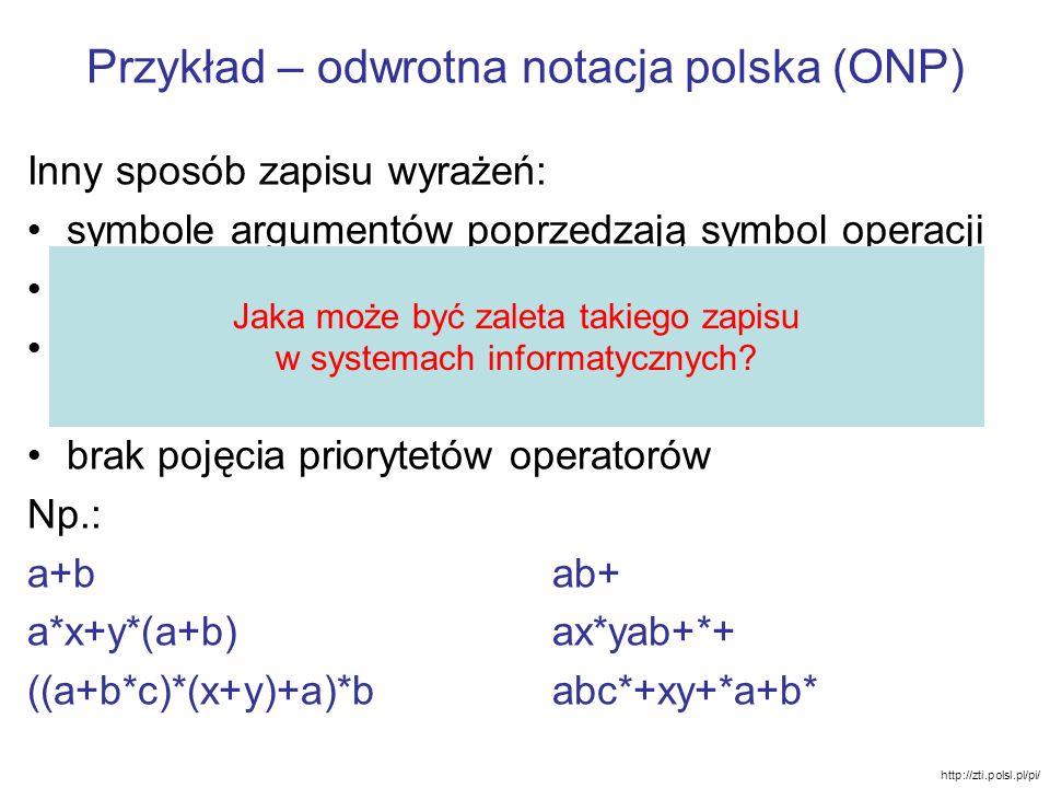 Przykład – odwrotna notacja polska (ONP)