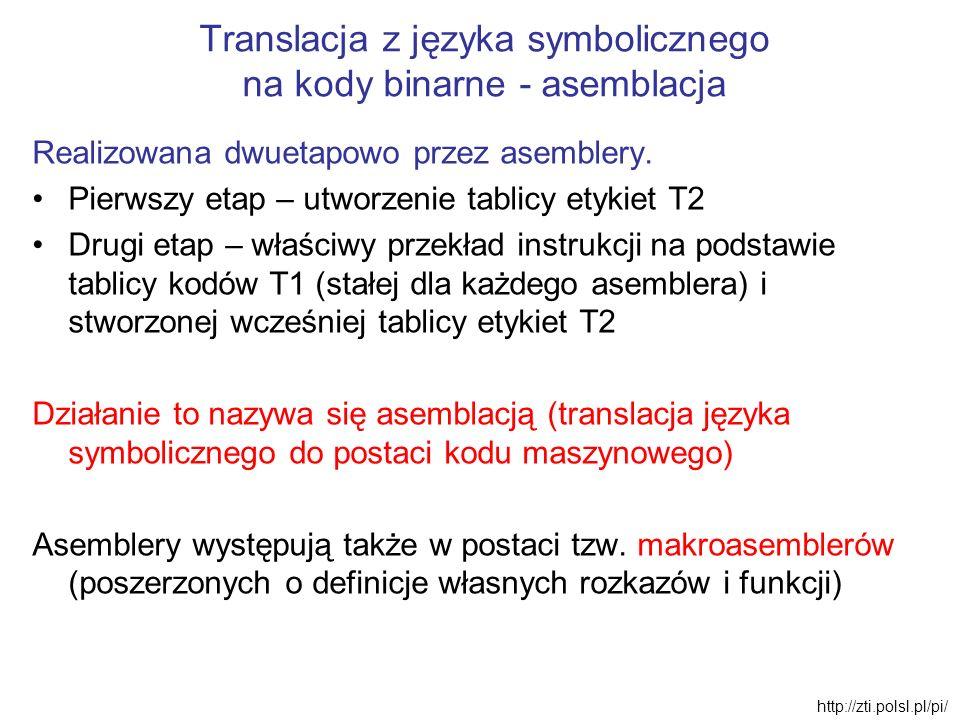 Translacja z języka symbolicznego na kody binarne - asemblacja