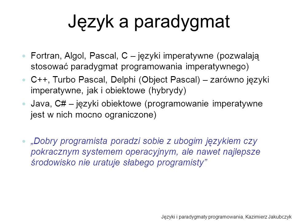 Język a paradygmat Fortran, Algol, Pascal, C – języki imperatywne (pozwalają stosować paradygmat programowania imperatywnego)