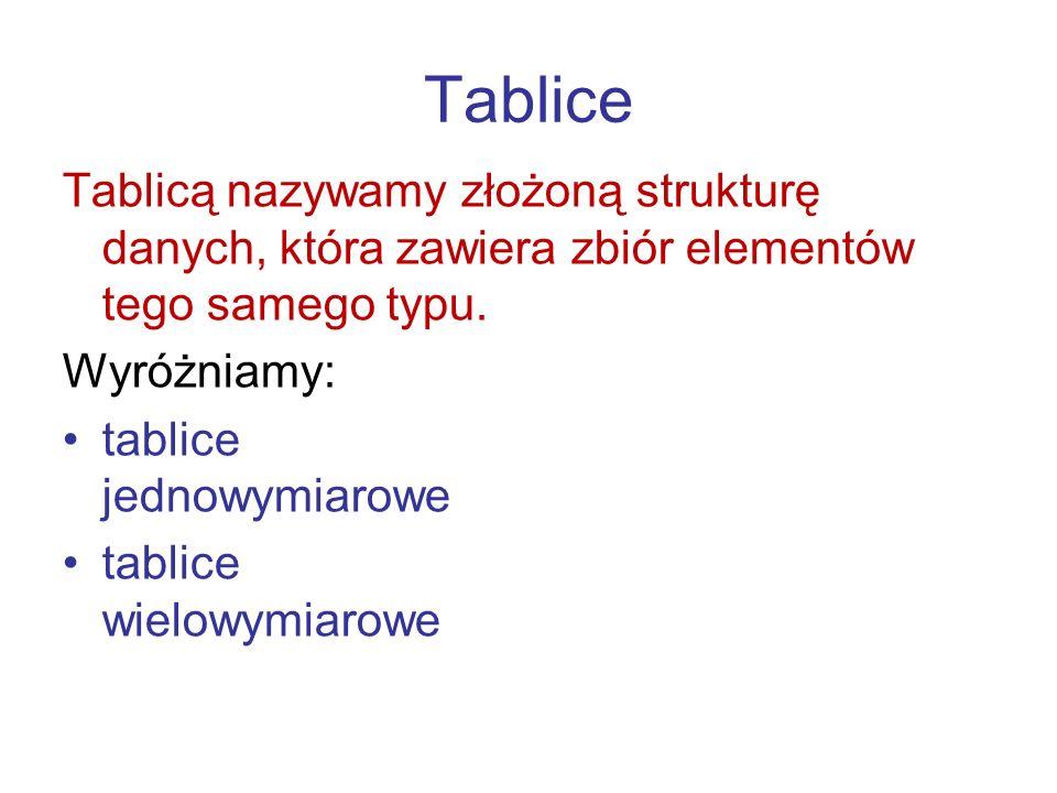 Tablice Tablicą nazywamy złożoną strukturę danych, która zawiera zbiór elementów tego samego typu. Wyróżniamy: