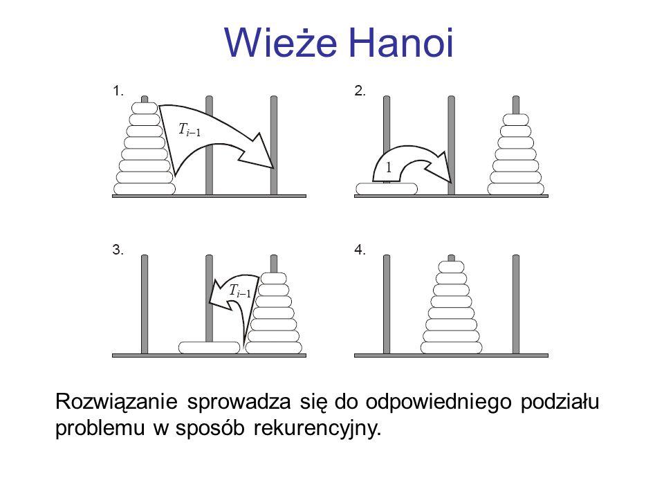 Wieże Hanoi Rozwiązanie sprowadza się do odpowiedniego podziału problemu w sposób rekurencyjny.