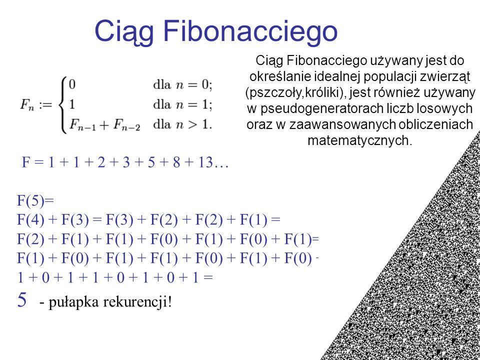Ciąg Fibonacciego F = 1 + 1 + 2 + 3 + 5 + 8 + 13…