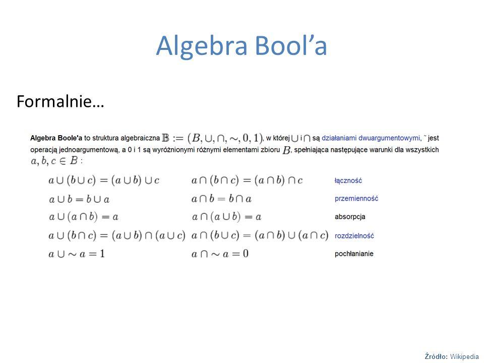 Algebra Bool'a Formalnie… Źródło: Wikipedia