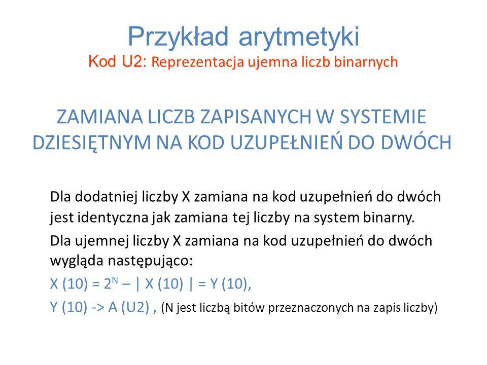 Przykład arytmetyki Kod U2: Reprezentacja ujemna liczb binarnych