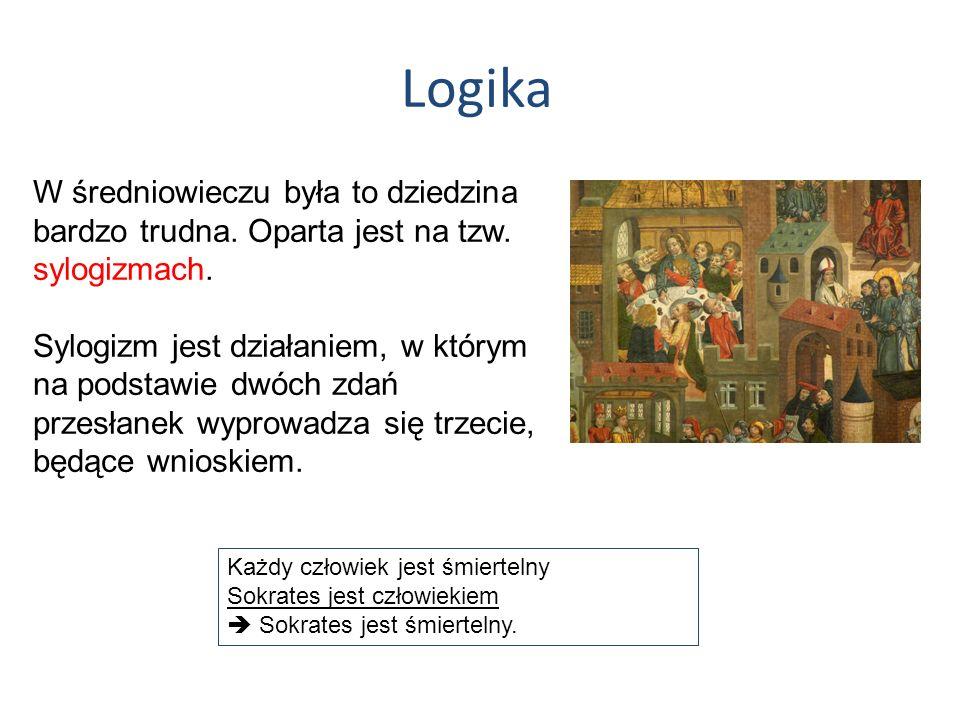 LogikaW średniowieczu była to dziedzina bardzo trudna. Oparta jest na tzw. sylogizmach.