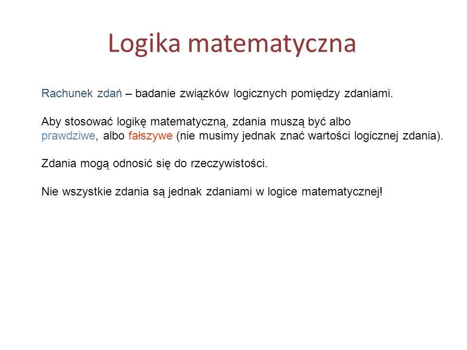 Logika matematyczna Rachunek zdań – badanie związków logicznych pomiędzy zdaniami.
