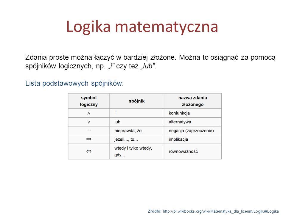 """Logika matematyczna Zdania proste można łączyć w bardziej złożone. Można to osiągnąć za pomocą spójników logicznych, np. """"i czy też """"lub ."""
