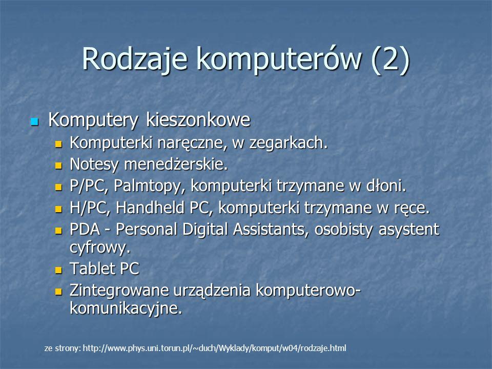Rodzaje komputerów (2) Komputery kieszonkowe