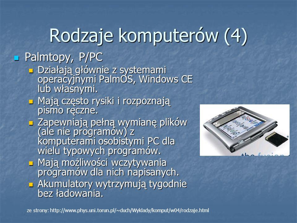 Rodzaje komputerów (4) Palmtopy, P/PC