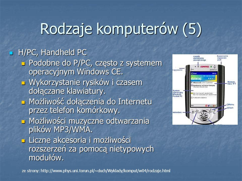 Rodzaje komputerów (5) H/PC, Handheld PC