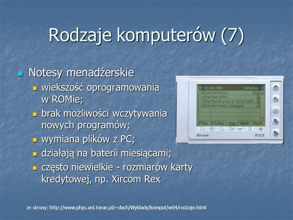Rodzaje komputerów (7) Notesy menadżerskie