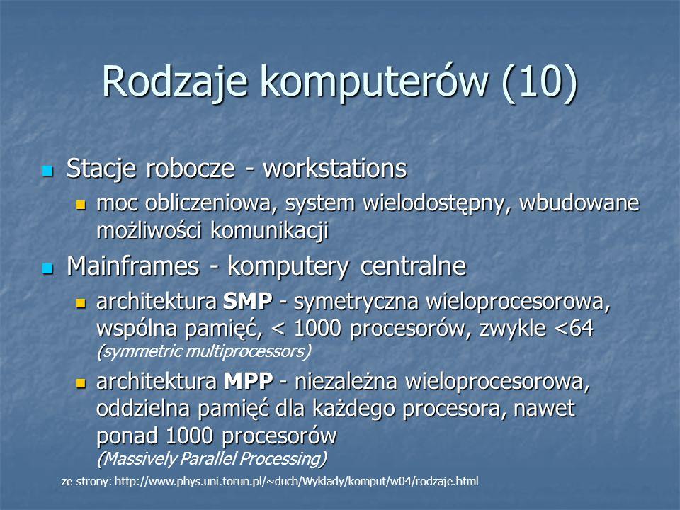 Rodzaje komputerów (10) Stacje robocze - workstations