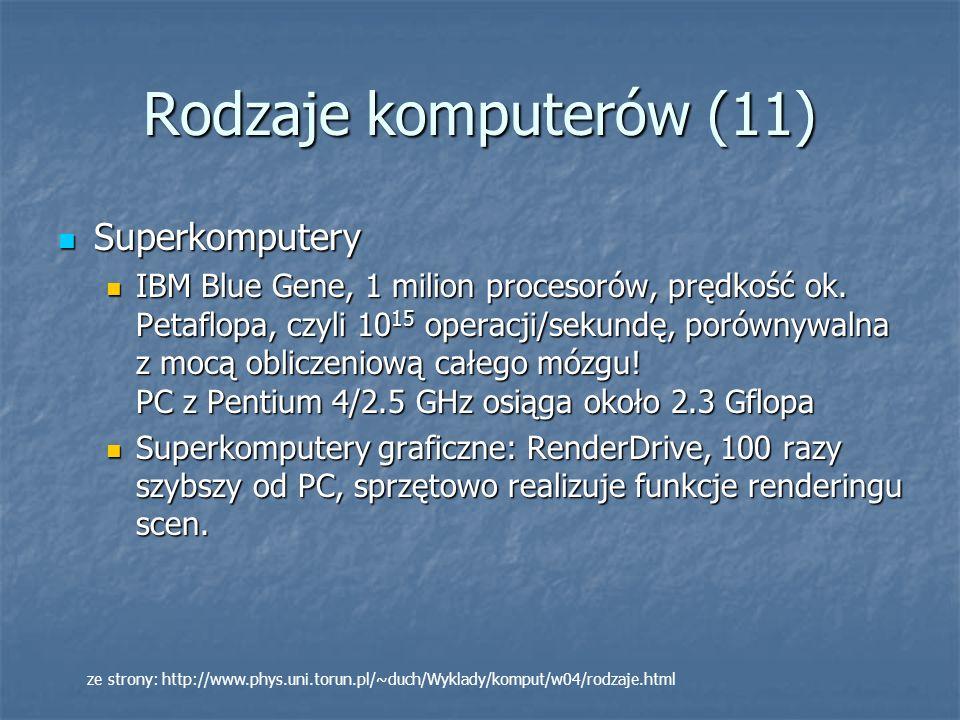 Rodzaje komputerów (11) Superkomputery