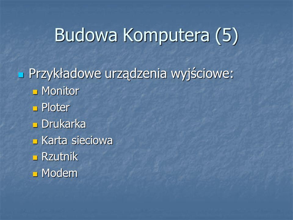 Budowa Komputera (5) Przykładowe urządzenia wyjściowe: Monitor Ploter
