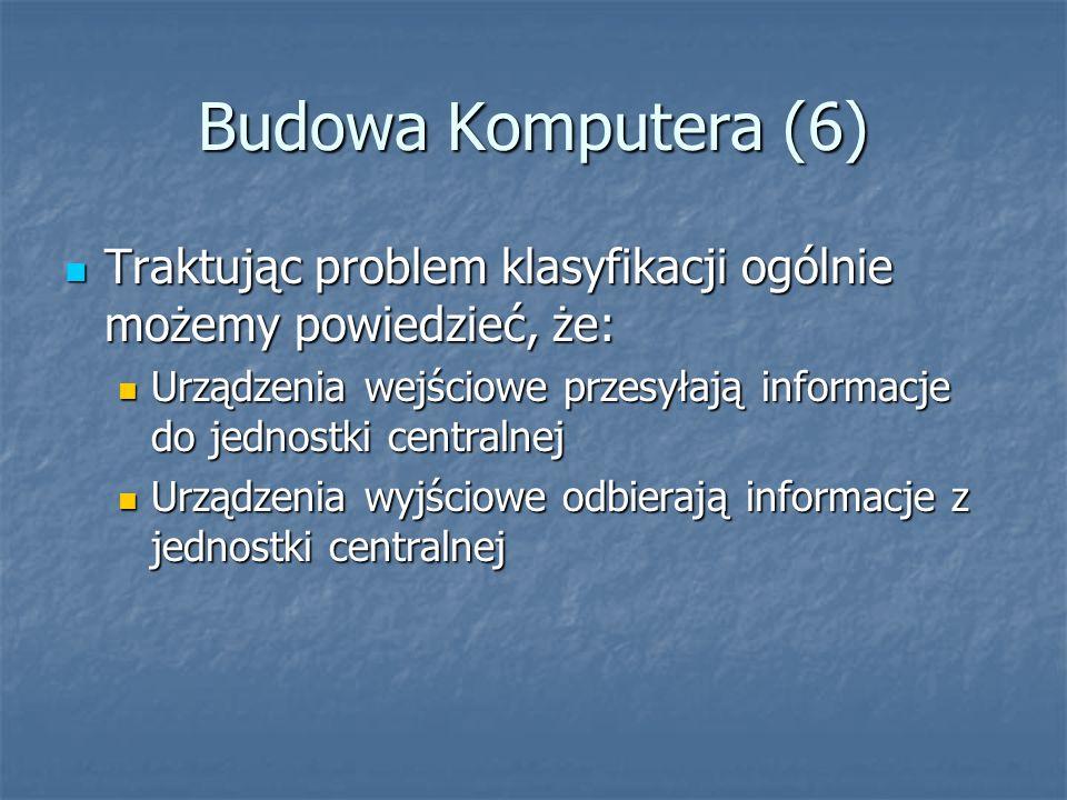 Budowa Komputera (6) Traktując problem klasyfikacji ogólnie możemy powiedzieć, że: