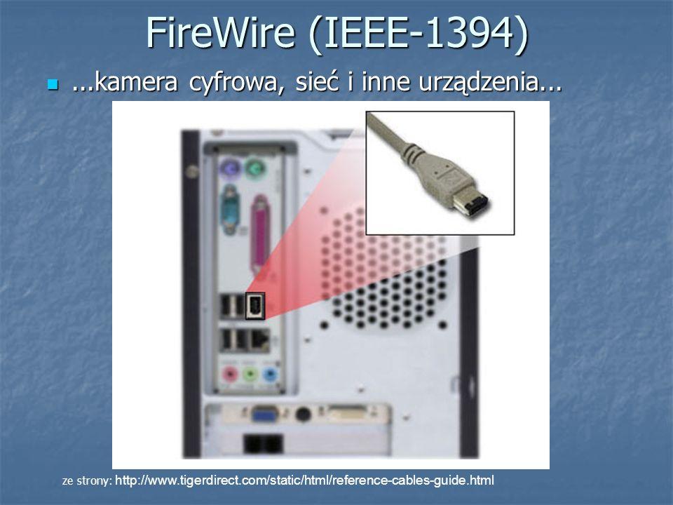 FireWire (IEEE-1394) ...kamera cyfrowa, sieć i inne urządzenia...