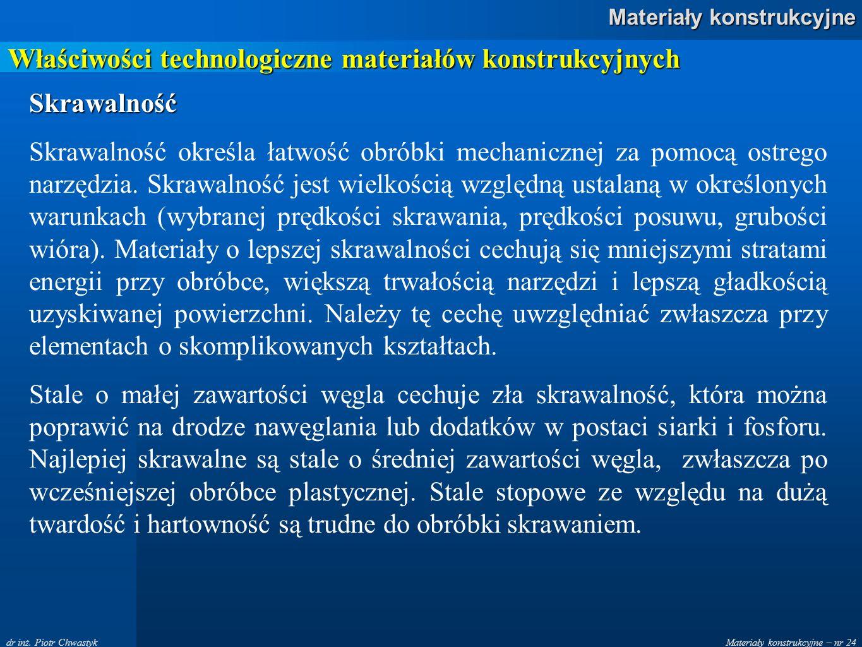 Właściwości technologiczne materiałów konstrukcyjnych