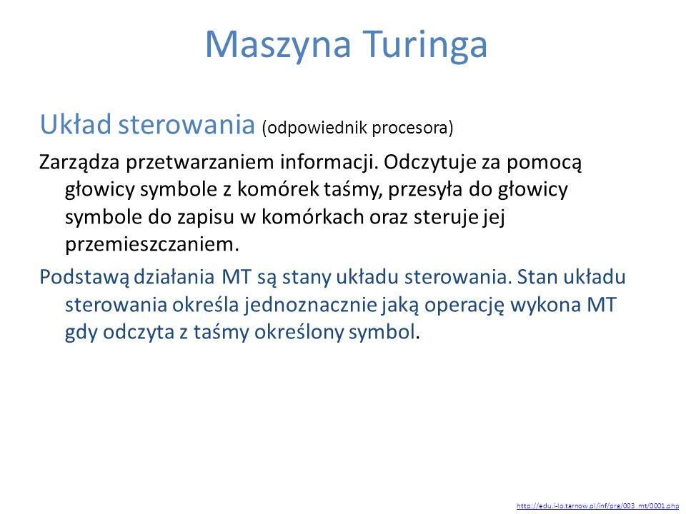 Maszyna Turinga Układ sterowania (odpowiednik procesora)