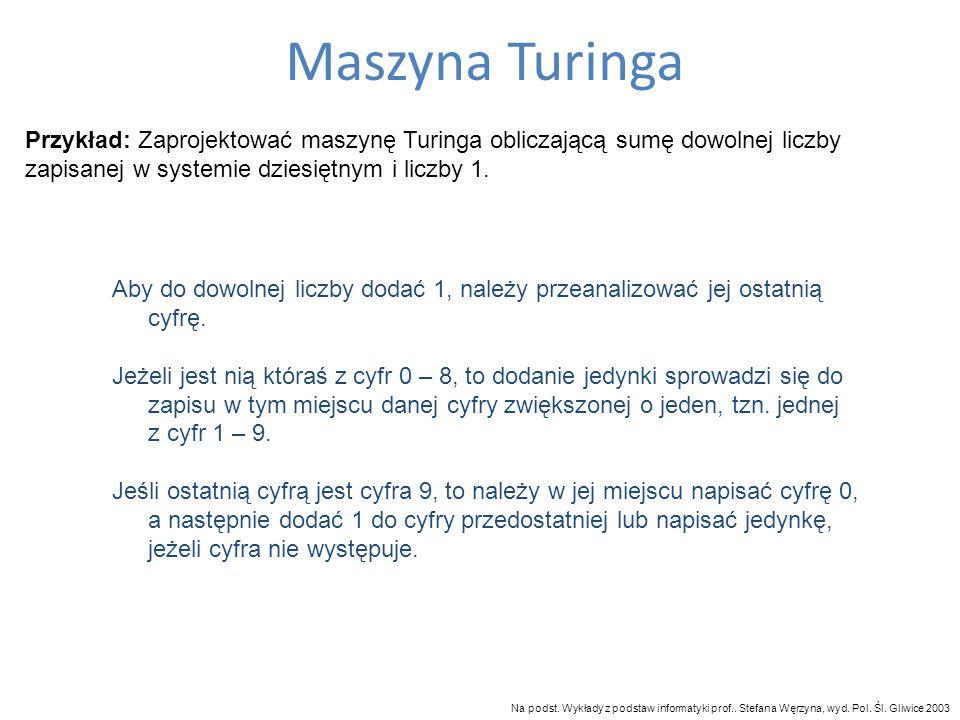 Maszyna Turinga Przykład: Zaprojektować maszynę Turinga obliczającą sumę dowolnej liczby zapisanej w systemie dziesiętnym i liczby 1.