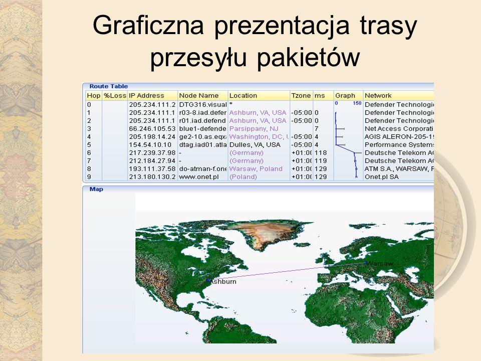Graficzna prezentacja trasy przesyłu pakietów