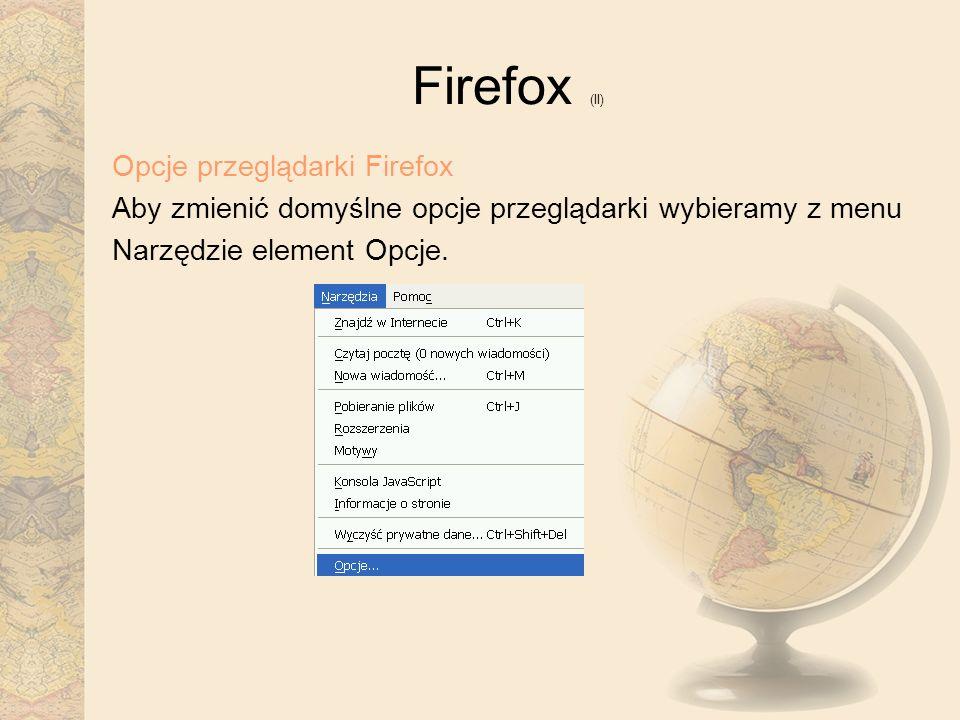 Firefox (II) Opcje przeglądarki Firefox
