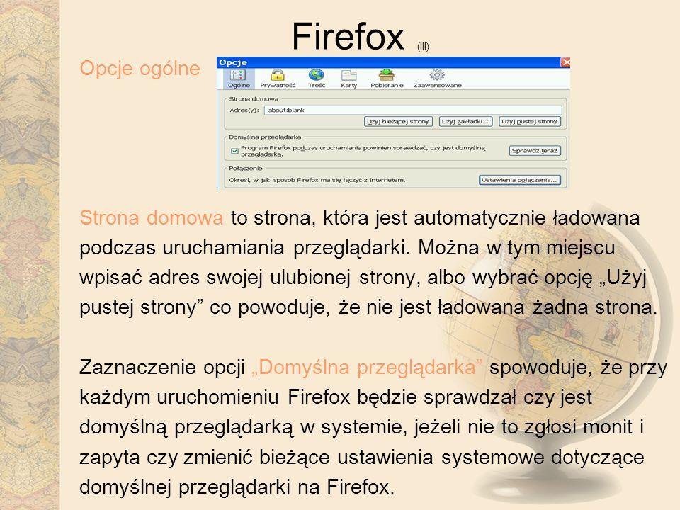 Firefox (III) Opcje ogólne