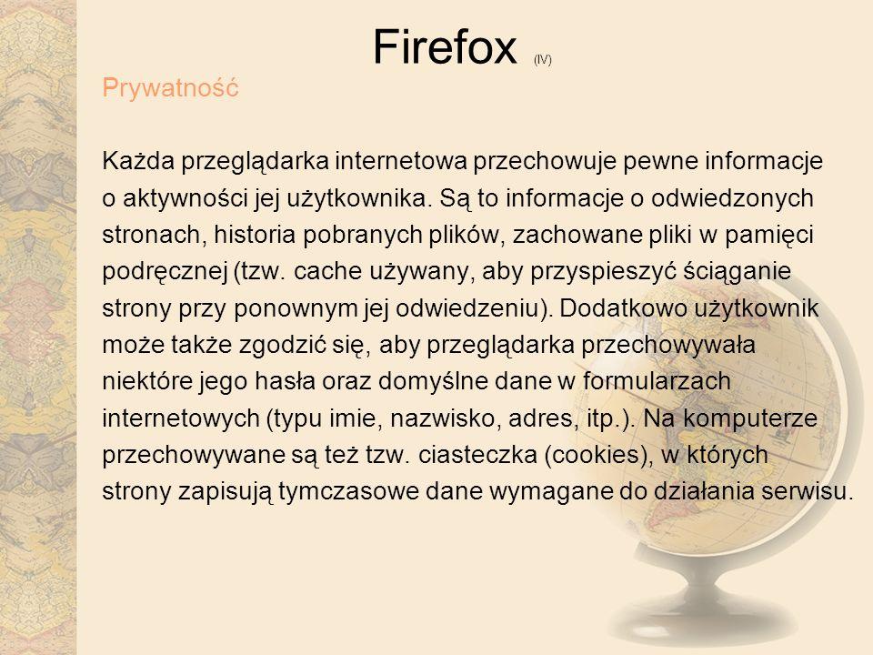 Firefox (IV) Prywatność