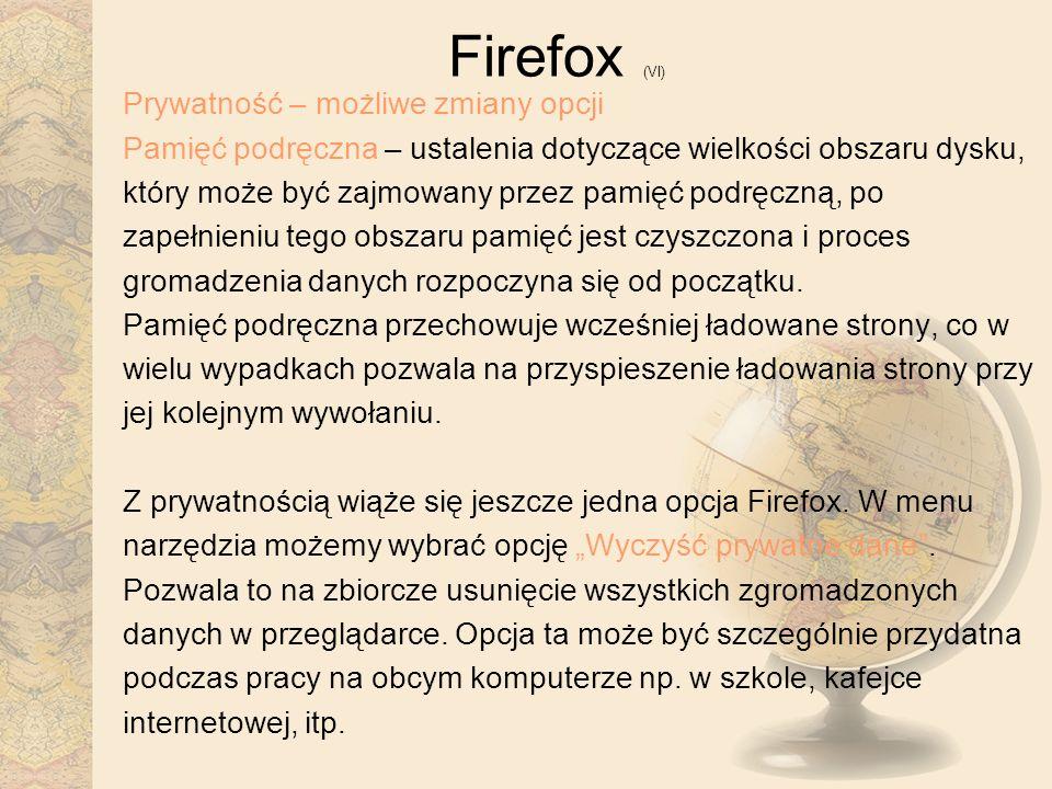 Firefox (VI) Prywatność – możliwe zmiany opcji