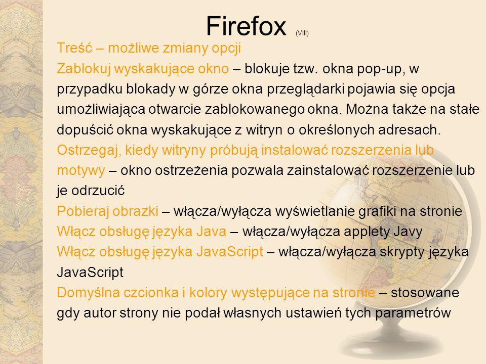 Firefox (VIII) Treść – możliwe zmiany opcji