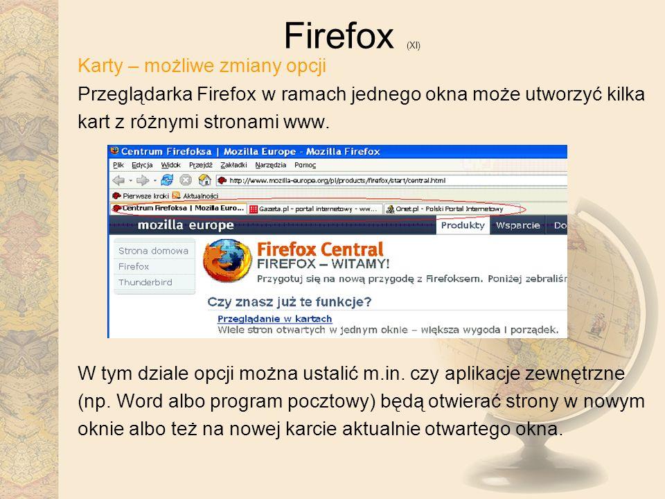 Firefox (XI) Karty – możliwe zmiany opcji