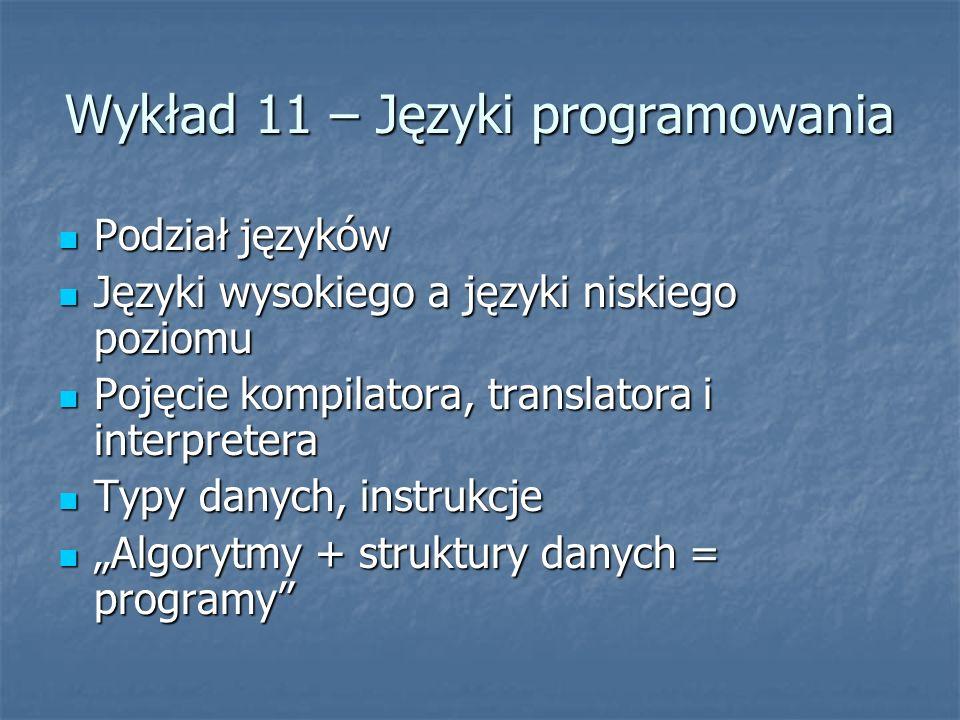 Wykład 11 – Języki programowania