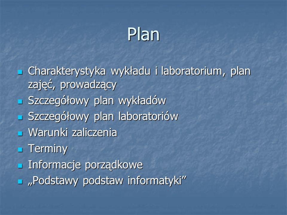 Plan Charakterystyka wykładu i laboratorium, plan zajęć, prowadzący