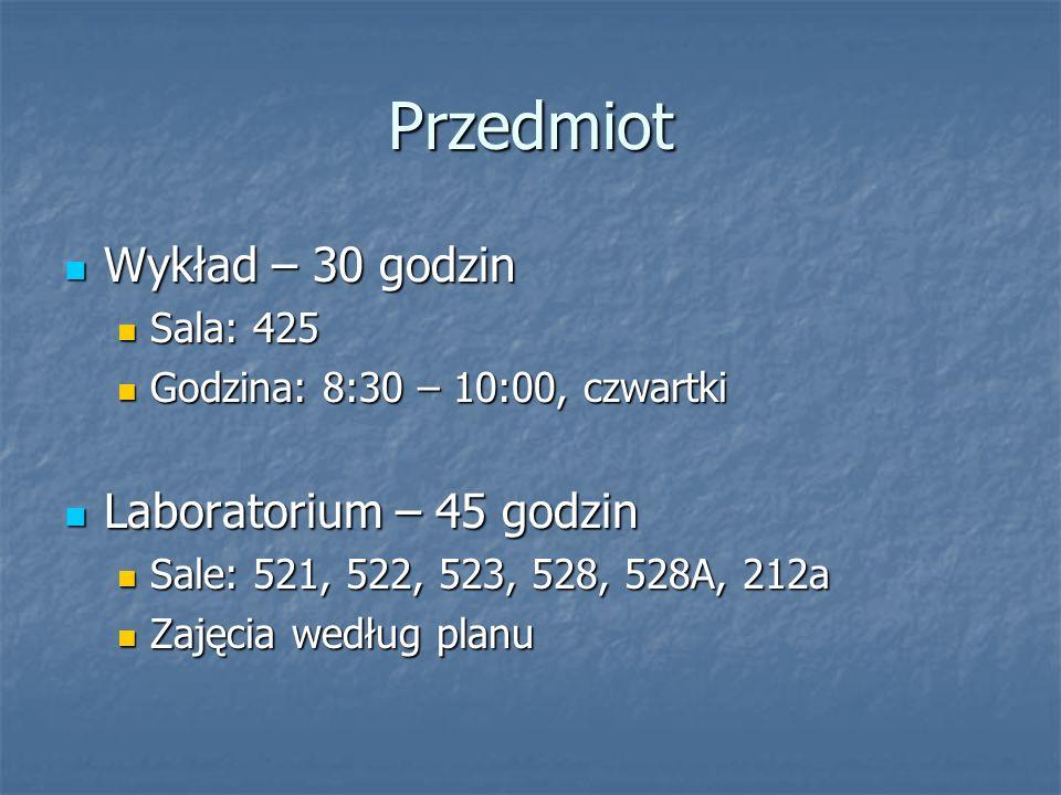 Przedmiot Wykład – 30 godzin Laboratorium – 45 godzin Sala: 425