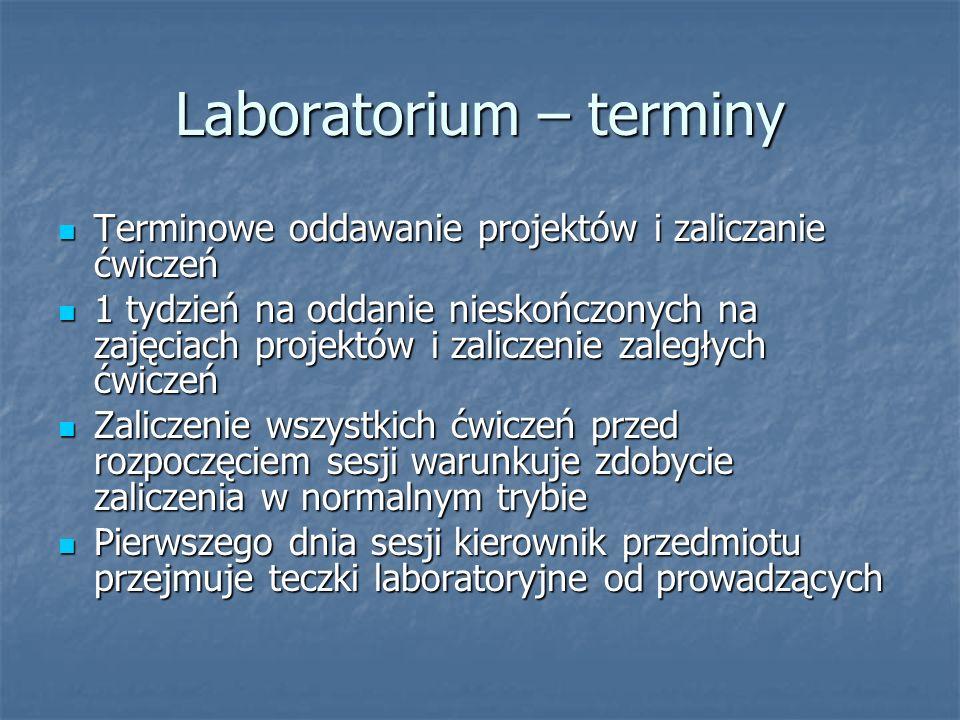 Laboratorium – terminy